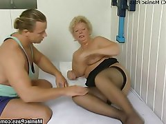 BBW Blonde Granny Mature Stockings