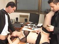 Anal Brunette Double Penetration Secretary Stockings