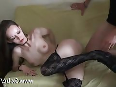 Amateur Blowjob French Stockings Threesome