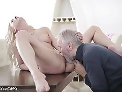 Blonde Blowjob Facial Old and Young