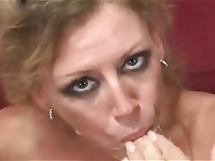 Hot blonde milf swallows