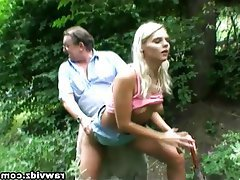 Blonde Mature Old and Young Outdoor