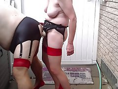 Anal Femdom Outdoor Stockings