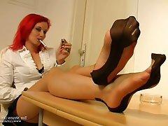 Foot Fetish Handjob Pantyhose Redhead Stockings