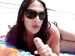 Amateur Beach Blowjob Handjob