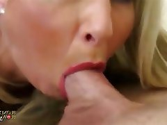 Blonde Blowjob Facial MILF