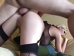 Blonde Blowjob British Cumshot Stockings