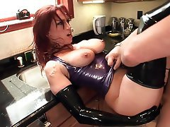 Hardcore High Heels Latex Redhead Stockings