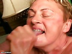 Blowjob Facial Granny Mature Saggy Tits