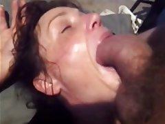 Lovely sloppy blowjob from cute brunette 1