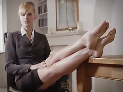 Blonde Femdom Foot Fetish Mistress Stockings