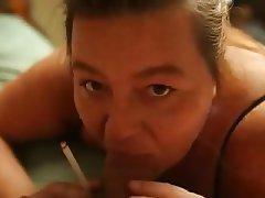 Amateur, Blowjob, Housewife, Smoking