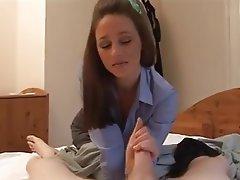 Cumshot Handjob MILF Stockings