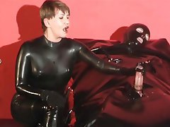 Cumshot, Handjob, Latex, Mistress
