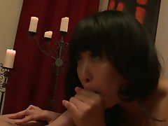 Interracial Asian Blowjob Brunette Facial