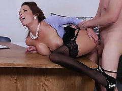 Office Secretary Stockings Brunette