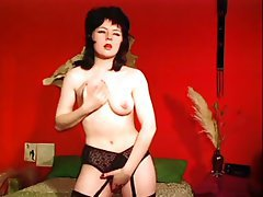 Brunette Hairy MILF Stockings Vintage
