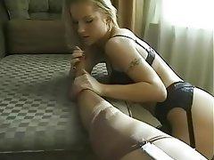 Babe, Lesbian, Lingerie, Masturbation, Stockings