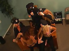 BDSM Femdom Group Sex Stockings Strapon