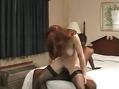 Cumshot Interracial Redhead Stockings