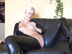 Amateur Blonde Latex Masturbation