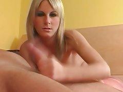Blonde Cumshot Facial Handjob Small Tits