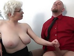 Hot milf handjob at the office
