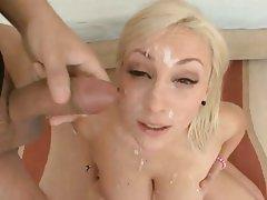 Blonde Bukkake Cumshot Facial