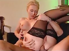Anal Babe Blonde French Stockings