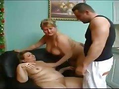 Threesome mature granny