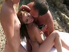 Babe Beach Blonde Outdoor Threesome