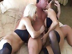 Handjob, MILF, Threesome