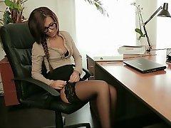 Ass Licking, Babe, Brunette, Glasses, Lingerie
