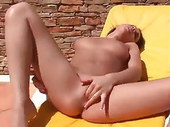 Babe Brunette Masturbation Outdoor