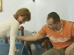Facial MILF Old and Young Redhead Stockings
