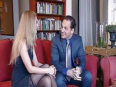 Blonde Brunette Cumshot Stockings Threesome