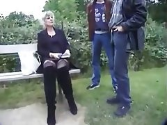 Double Penetration Granny Outdoor Stockings