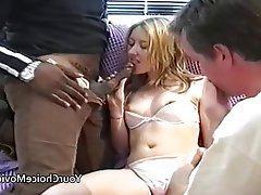 Amateur British Creampie Interracial Threesome