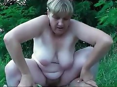 Amateur German Granny Old and Young Outdoor
