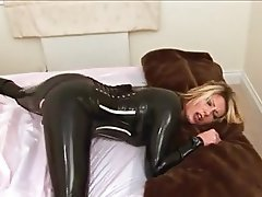 Blonde, Latex, Masturbation, MILF, Orgasm